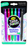 Crayola Take Note! Washable Gel Pens 6 pk
