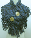 2 Button Navy Blue Scarf
