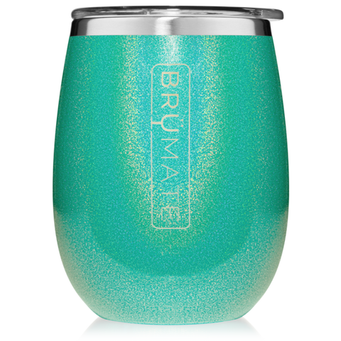 BruMate Wine Glass Glitter Peacock
