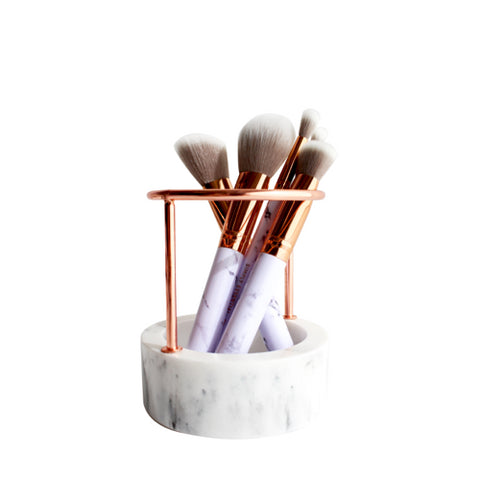 Marble Rose Gold Brush Stand