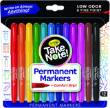 Crayola Take Note! Permanent Markers Fine Point 12pk