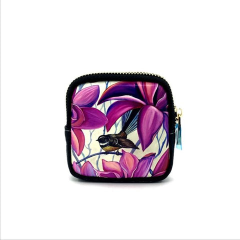 Native Bird Fantail Pink Coin Purse