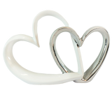 White Silver Double Hearts