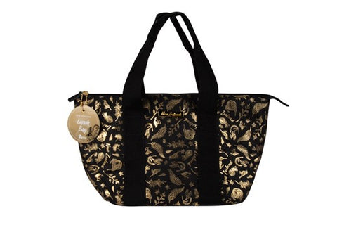 Lunch Bag Black & Gold Birds