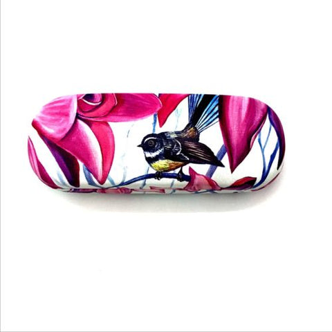 Native Bird Fantail Pink Glasses Case