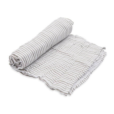 Little Unicorn Single Cotton Muslin Swaddle - Grey Stripe