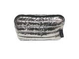 Punch Puffer Single Zip Cosmetic Bag Silver