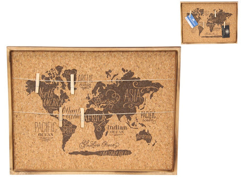 World Map Cork Peg Board