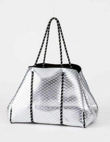 Neoprene Tote Silver with White Scales