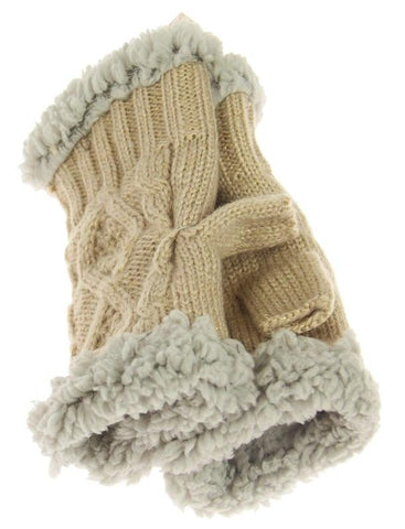 Knit Fingerless Gloves - Taupe