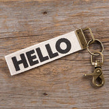 Canvas Keyring - Hello
