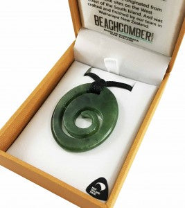 NZ Pounamu Pendant Oval Koru Necklace