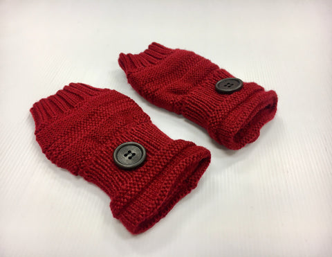 Fingerless Mittens - Red Wine