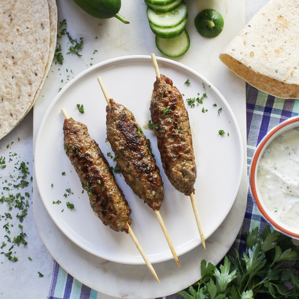 Moroccan kefta (kebab) with herb yogurt