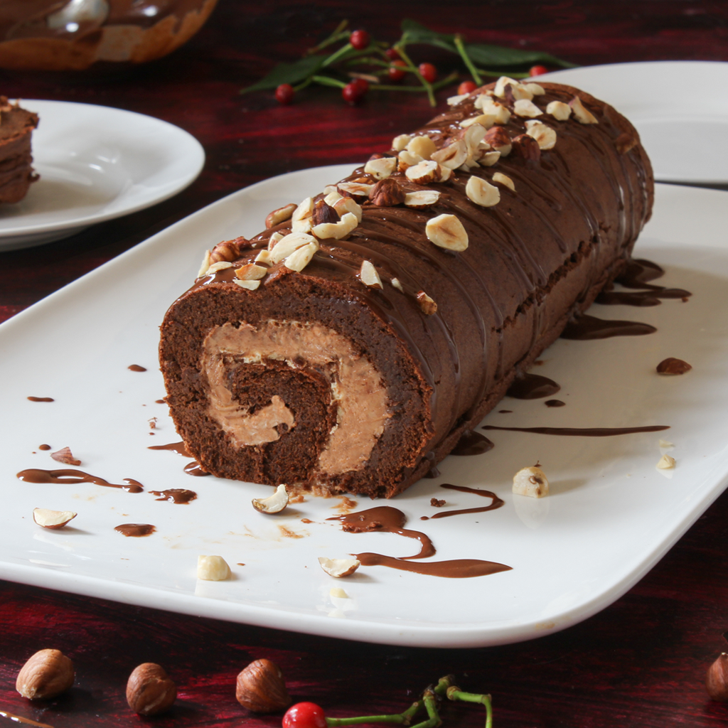 Chocolate roulade with hazelnut mousse