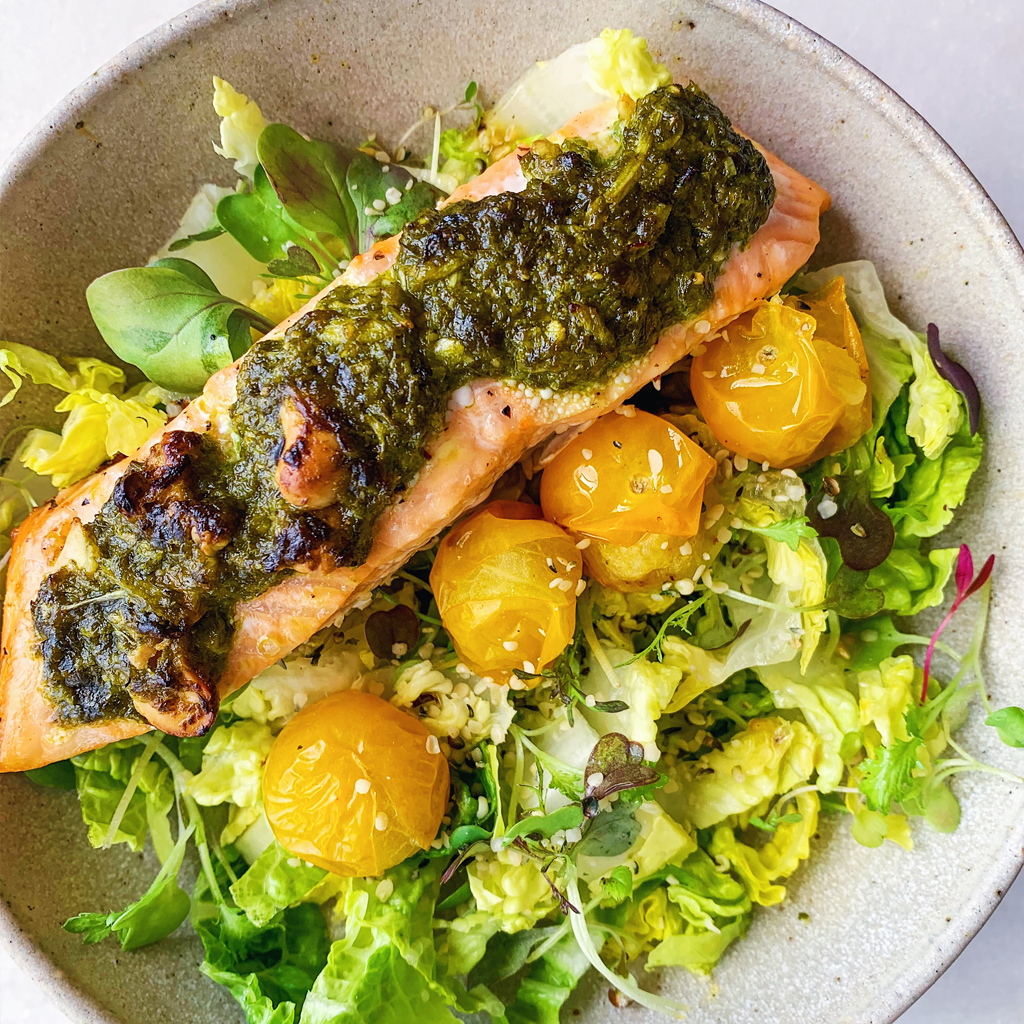 blender pesto with salmon