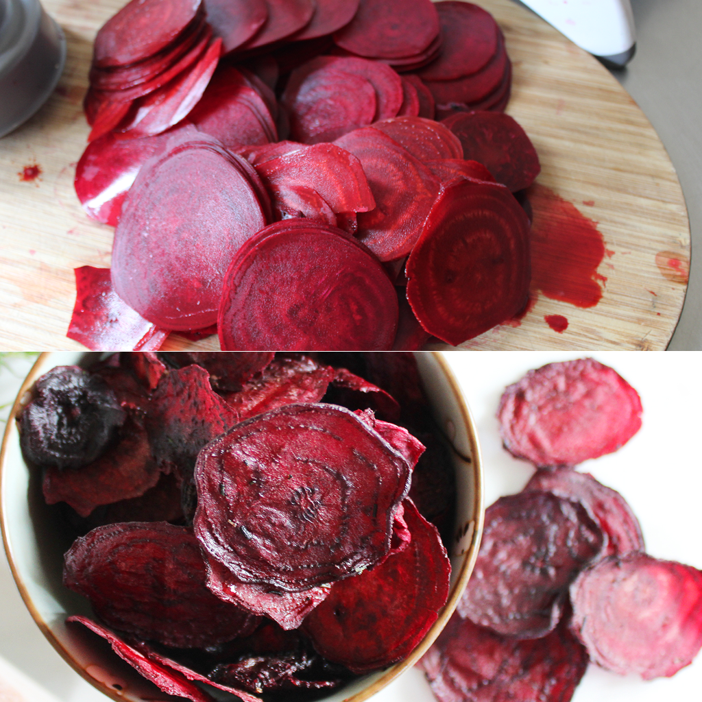 raw dehydrated beetroot chips