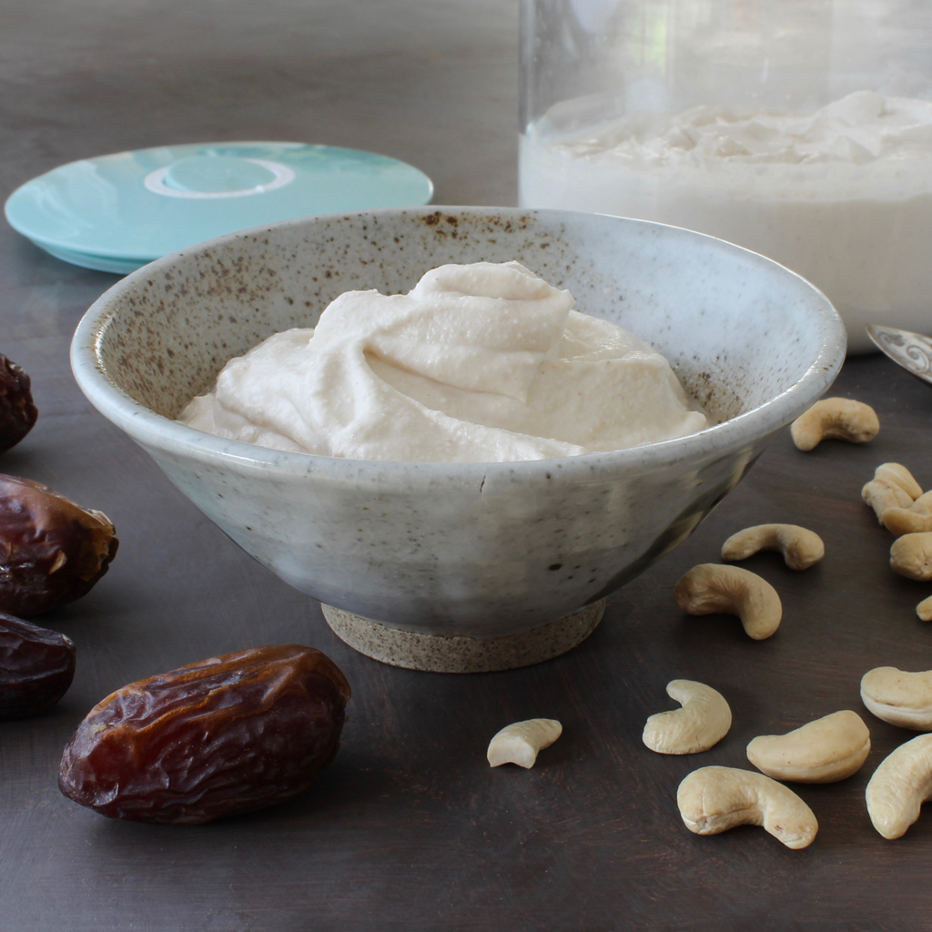 date sweetened cashew and coconut yogurt