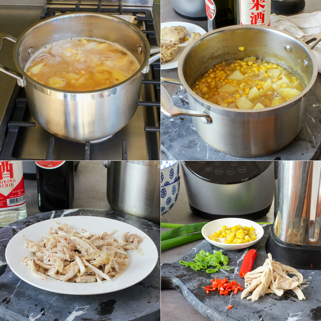 chicken and corn soup steps