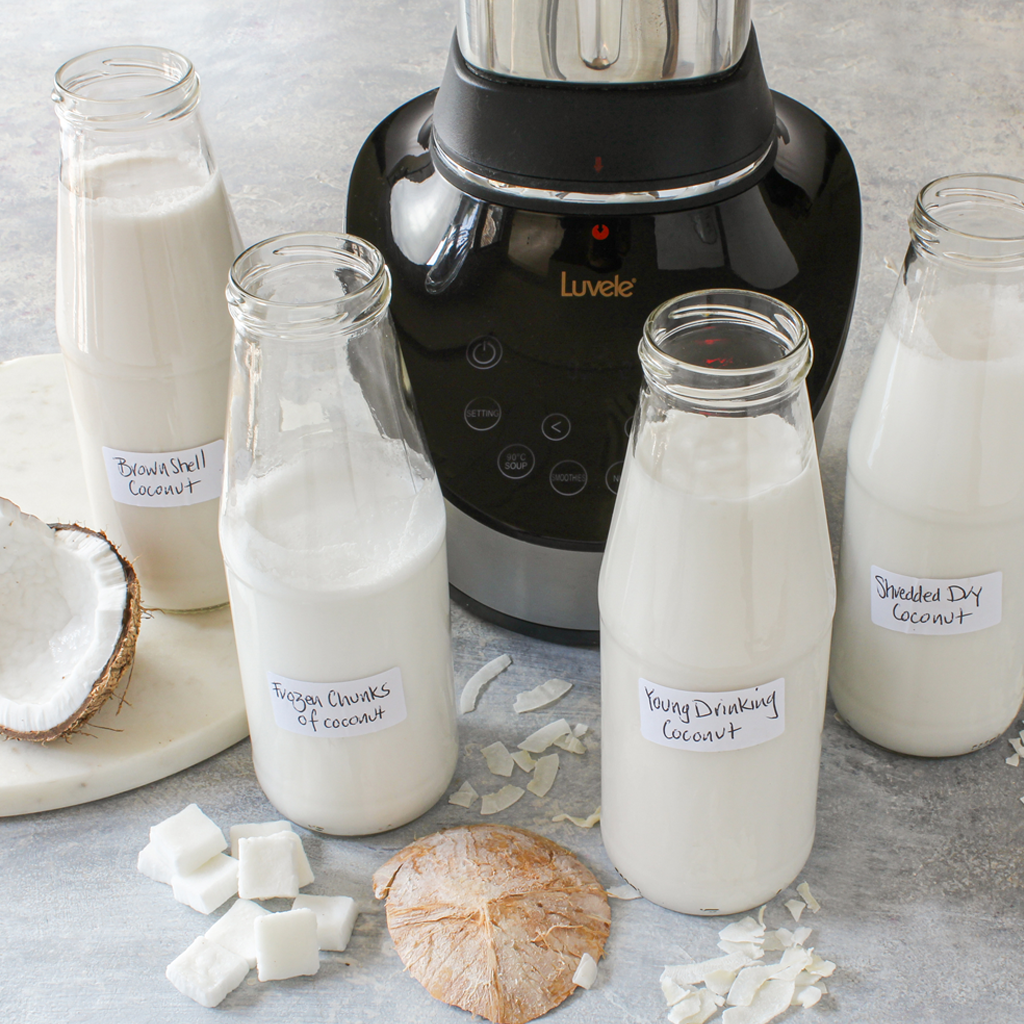 Homemade coconut milk 4 ways