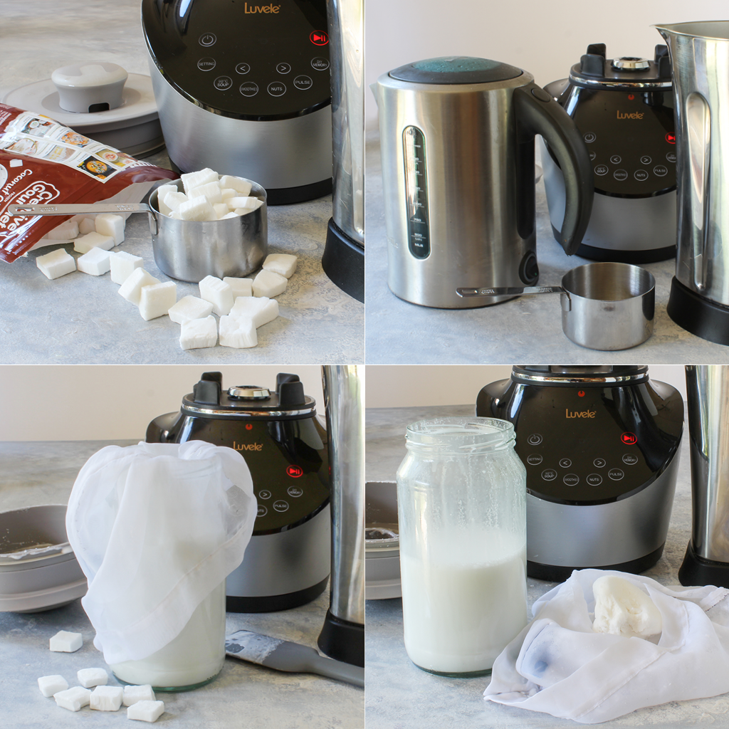 homemade coconut milk using frozen coconut meat