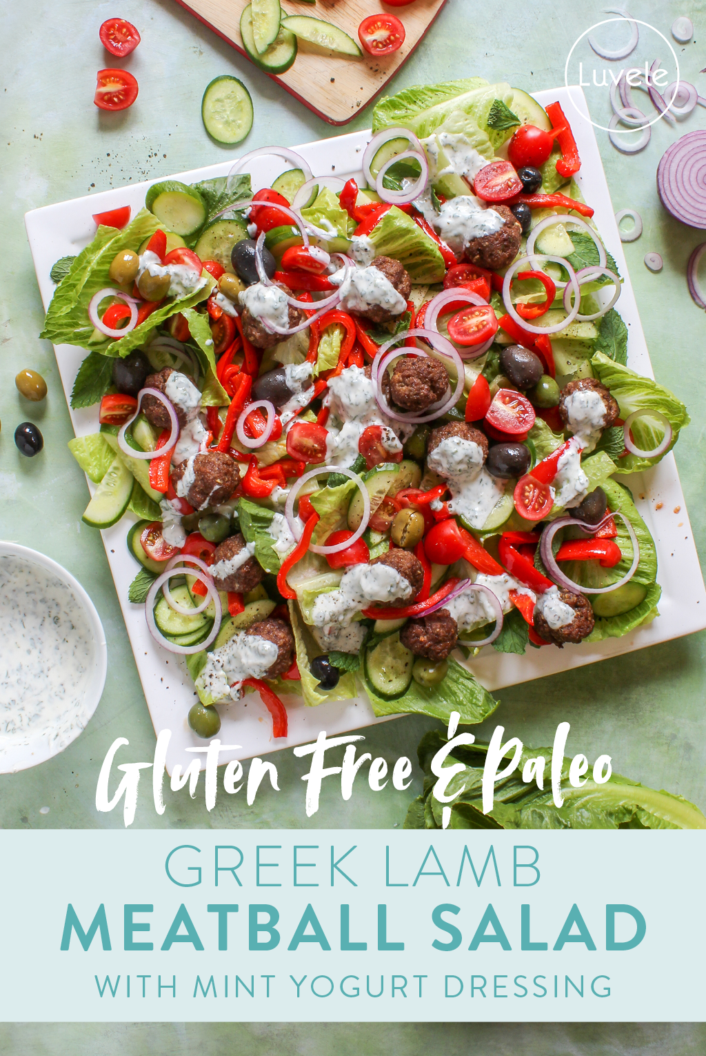 Greek lamb meatball salad with mint yogurt dressing