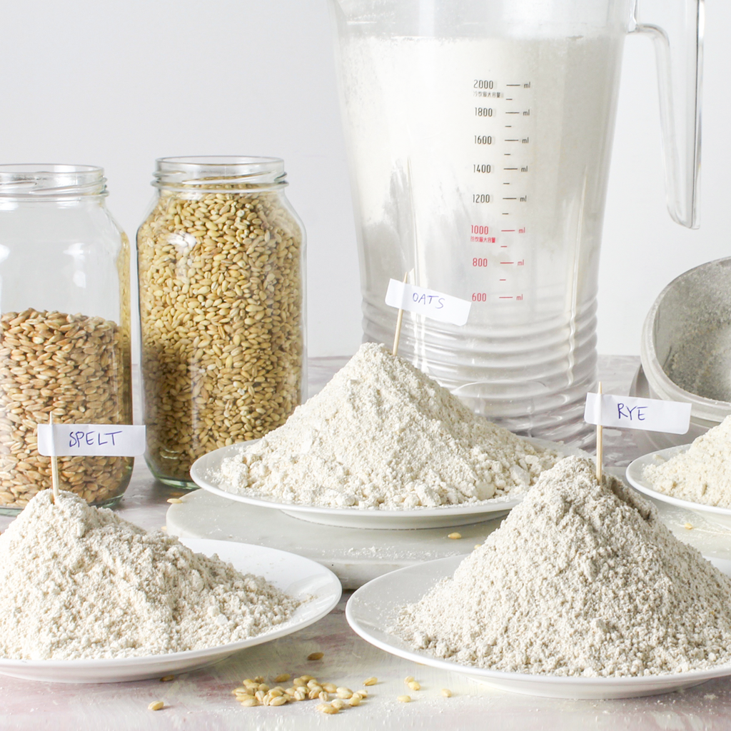 grinding whole-grains in a blender