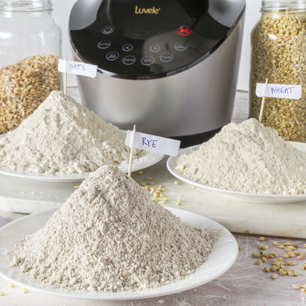 grinding whole-grains into flour