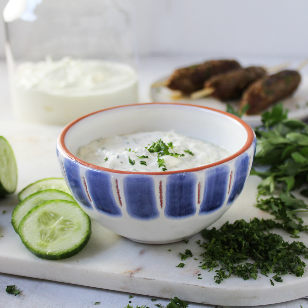 Kebab with herb yogurt
