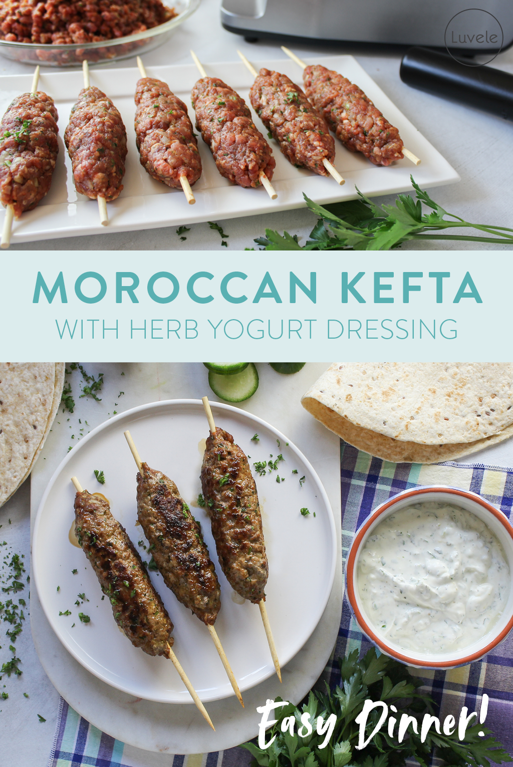 Moroccan ground beef Kefta Kofta with herb yogurt