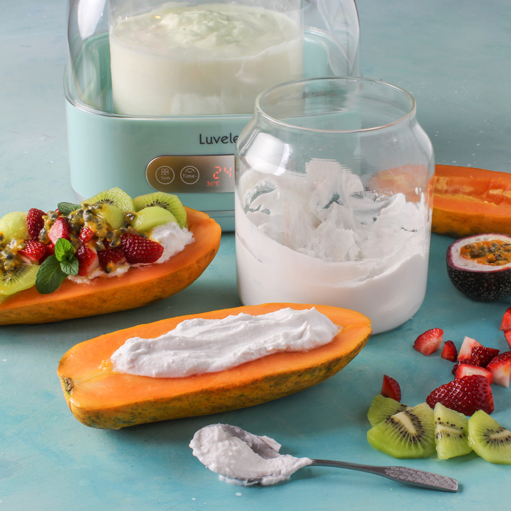 homemade yogurt papaya boats