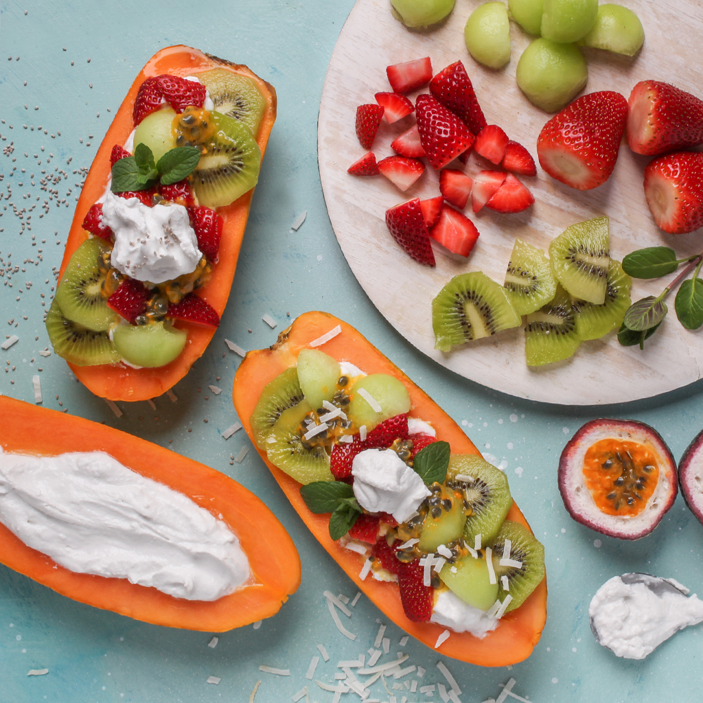 yogurt papaya boats