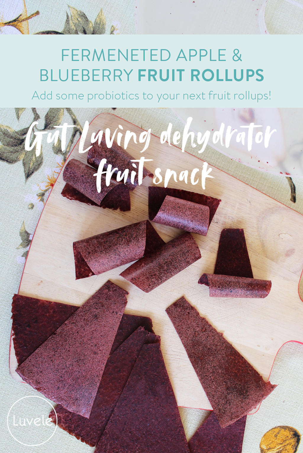 fermented apple and blueberry fruit roll-ups