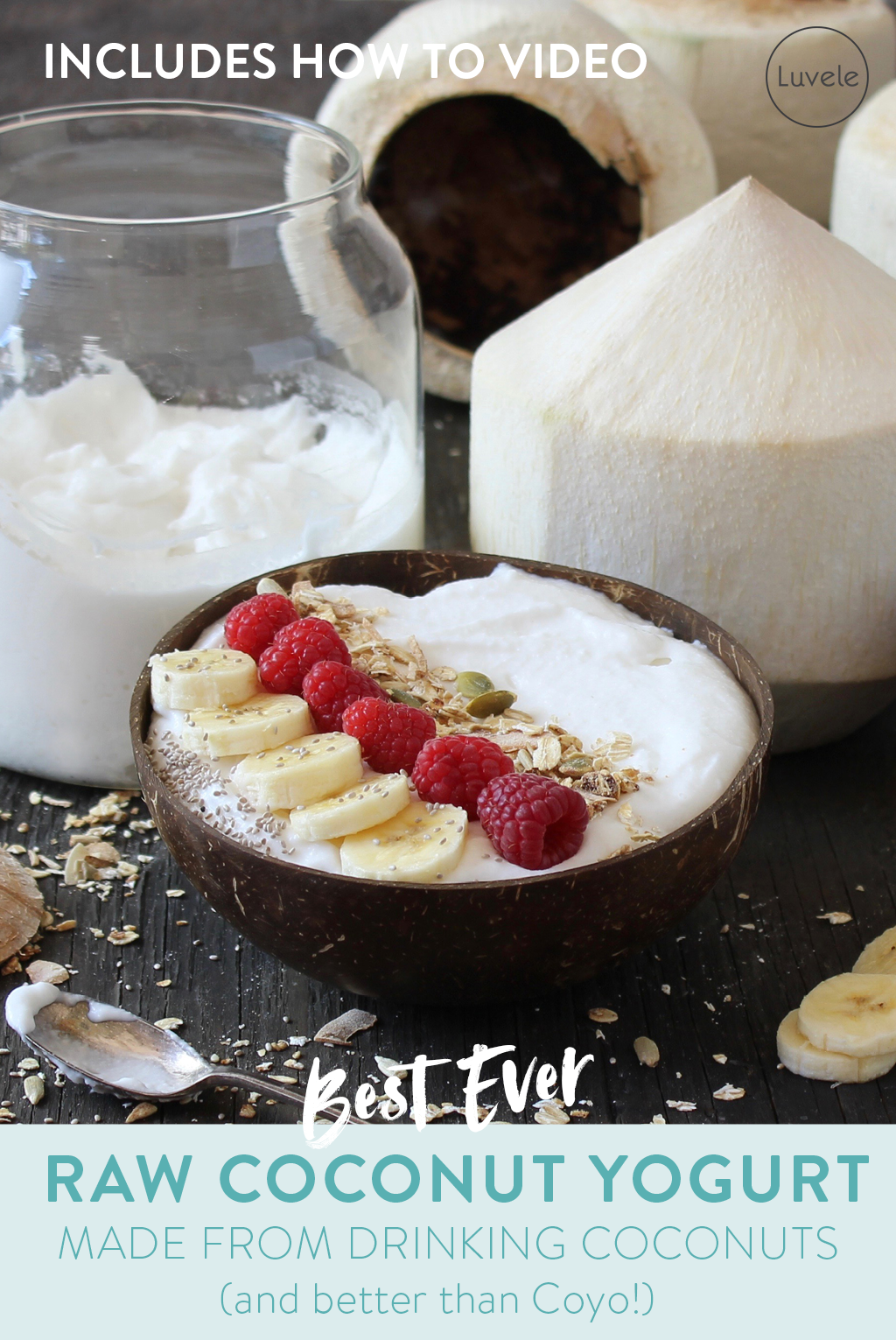 homemade coconut yogurt made from drinking coconuts