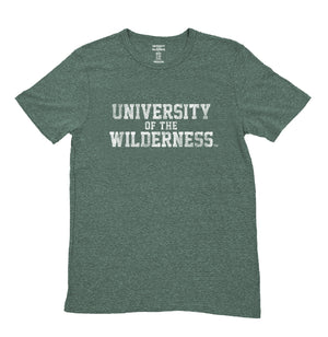 Kid's Vintage Green University of the Wilderness T-Shirt