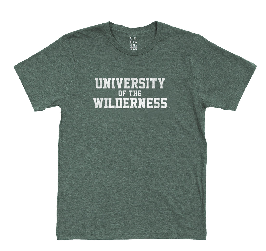 M's Vintage Green University of the Wilderness Eco T-Shirt