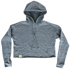 Sun Washed Grey Eco Blend Cropped Hoodie
