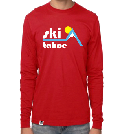 Classic Red Retro Ski Tahoe Organic Long Sleeve