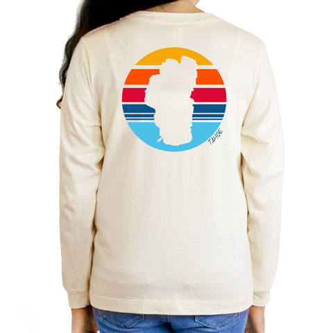 Kid's Vintage White Tahoe Sun Organic Long Sleeve