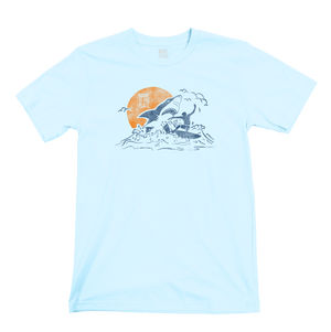 Unisex Great White Shark Surfer Organic Cotton T-Shirt