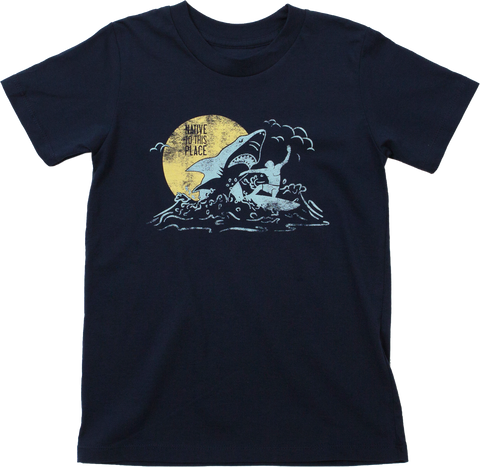 Kid's Great White Shark Surfer Organic Cotton T-Shirt