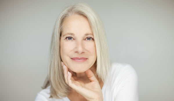 attractive mature woman with grey hair