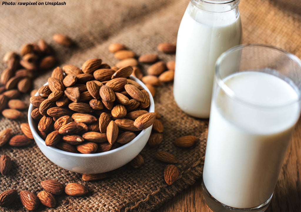 almond nuts with almond milk