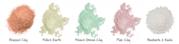 different colored cosmetic clays