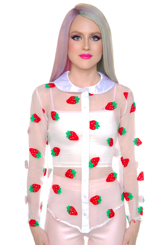 Strawberry Pie Sheer Blouse