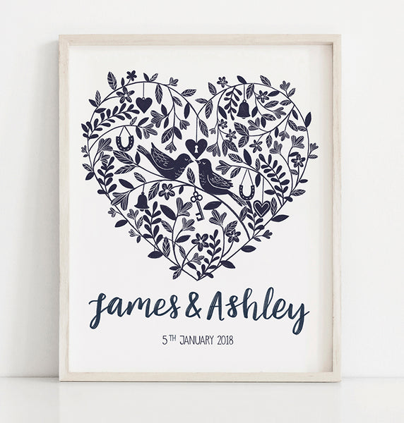 Personalised Floral Heart Wedding and Anniversary Print