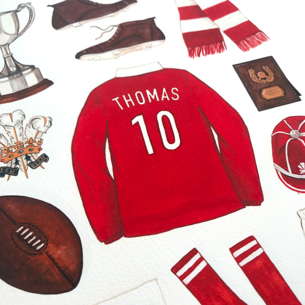 Personalised Welsh Rugby Print