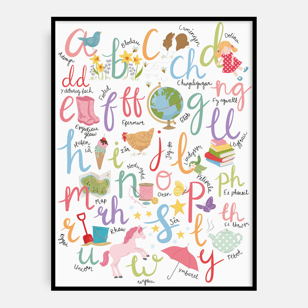 Welsh Pastel Brights Alphabet Print