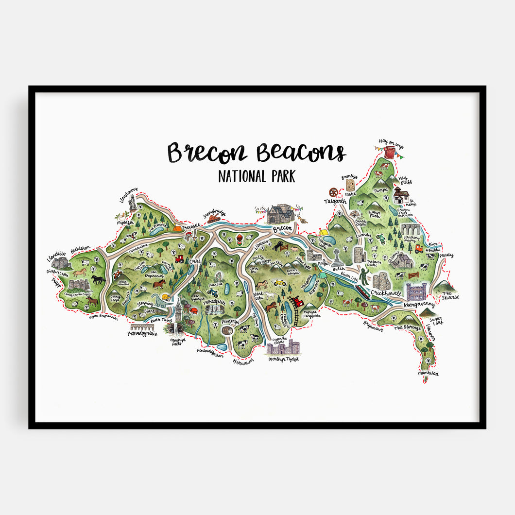 Brecon Beacons Map Print