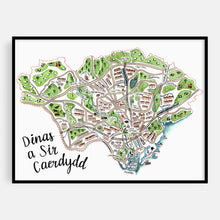 Load image into Gallery viewer, Caerdydd Map Print